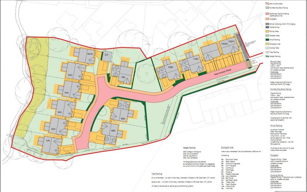 New landscape plan of site showing position of houses and some limited planting of hedges.